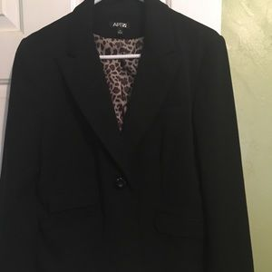 Apt 9 Black Dress Coat with leopard print